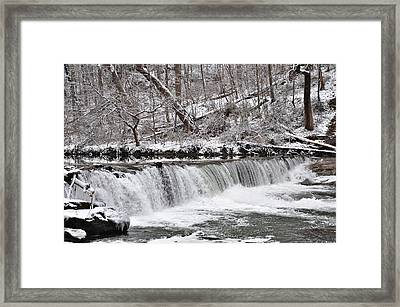 Wissahickon Waterfall In Winter Framed Print by Bill Cannon