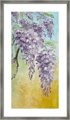 Wisteria And Gold Framed Print by Mary Rogers