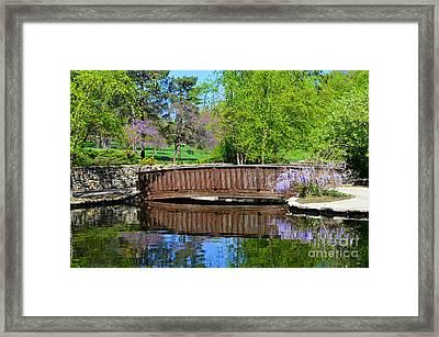 Wisteria In Bloom At Loose Park Bridge Framed Print