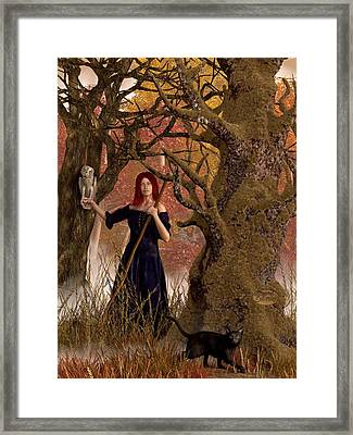 Witch Of The Autumn Forest  Framed Print by Daniel Eskridge