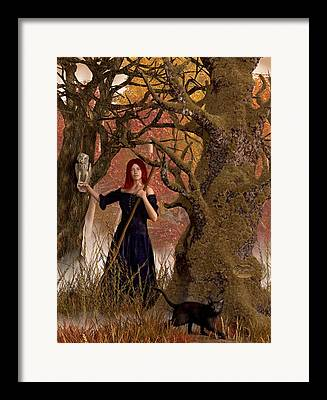 Witch Halloween Cat Wicca Framed Prints