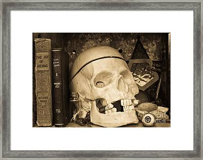 Witches Bookshelf Framed Print by Edward Fielding