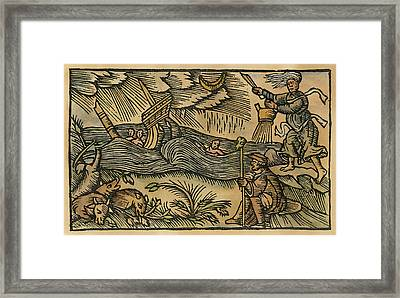 Witches Brewing Up Storm Framed Print by Granger