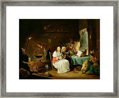 Witches Preparing For The Sabbat Framed Print by David the Younger Teniers