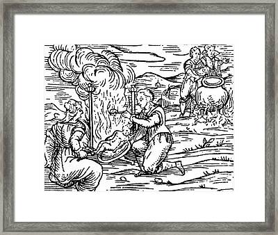 Witches Roasting And Boiling Infants Framed Print by Italian School
