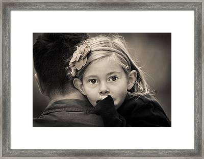 With Dad - B And W Framed Print