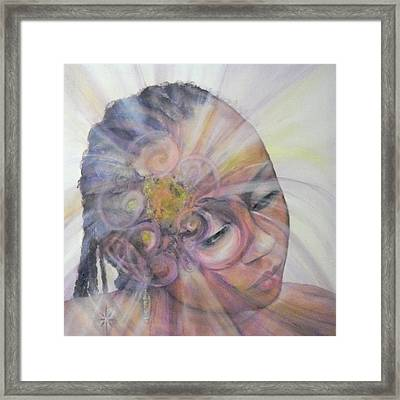 Framed Print featuring the painting With Dahlia by Jodie Marie Anne Richardson Traugott          aka jm-ART