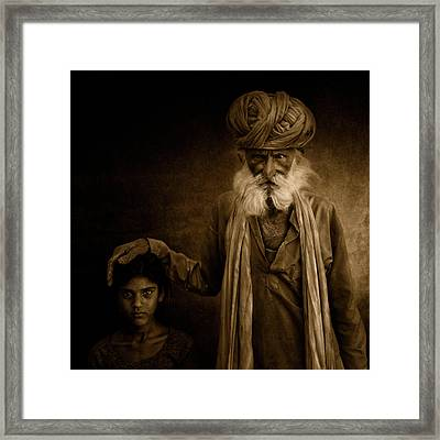With Grandpa Framed Print