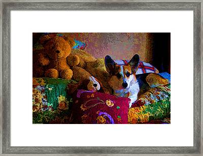 With His Friends On The Bed Framed Print