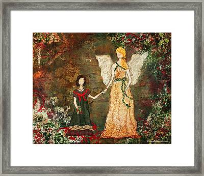With The Angels Christmas Mixed Media Folk Art Painting Framed Print