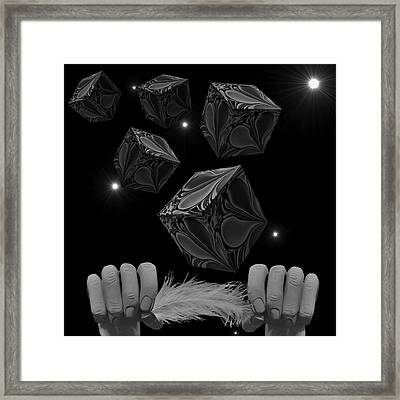 With The Lightest Touch Bw Framed Print