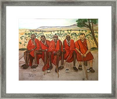 With The Masai Framed Print