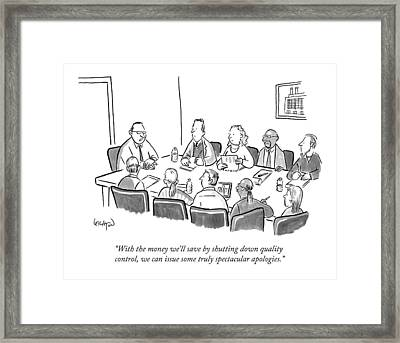 With The Money We'll Save By Shutting Framed Print by Robert Leighton