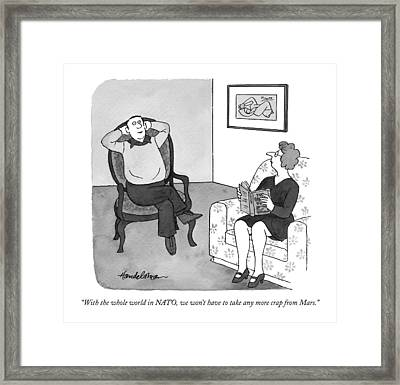 With The Whole World In Nato Framed Print by J.B. Handelsman