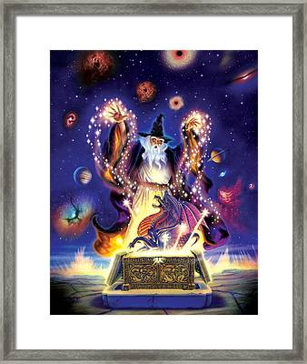 Wizard Dragon Spell Framed Print by Andrew Farley