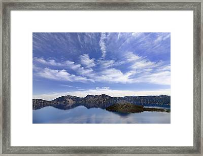Wizard Island And Crater Lake Framed Print
