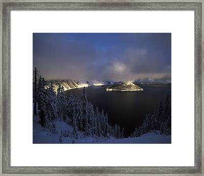 Wizard Island At Crater Lake In Winter Framed Print by Panoramic Images