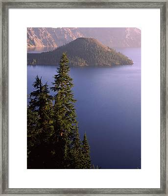 Wizard Island From Rim Village Framed Print by Panoramic Images