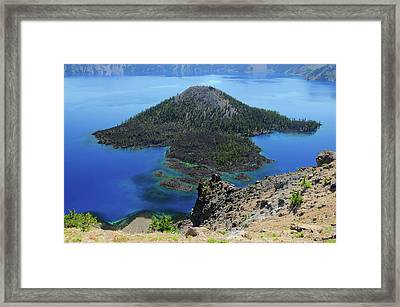Wizard Island From The Watchman, Crater Framed Print by Michel Hersen