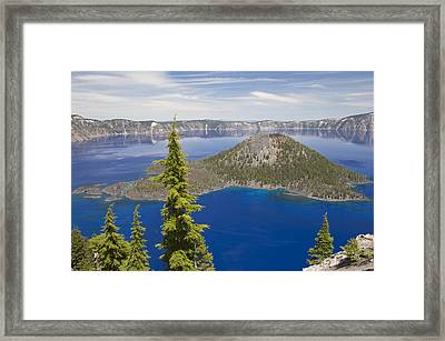 Wizard Island In Crater Lake Oregon Framed Print by Bill Coster