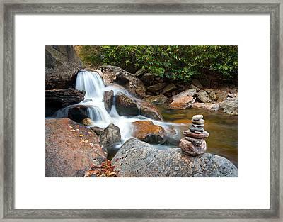 Wnc Flowing Zen Waterfalls Landscape - Harmony Waterfall Framed Print
