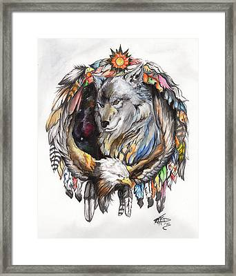 Wolf And Eagle Framed Print by Miguel Karlo Dominado