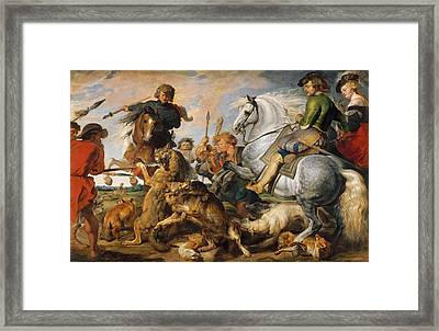 Wolf And Fox Hunt Framed Print