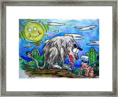 Wolf And Friend Framed Print by Adrian  Casanova