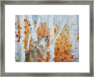 Wolf Call Framed Print by Ellen Levinson