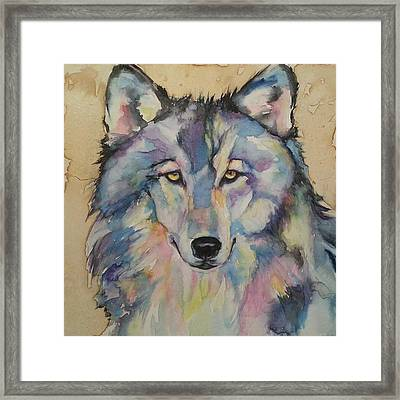 Framed Print featuring the painting Wolf by Christy  Freeman