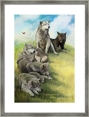 Wolf Gathering Lazy Framed Print