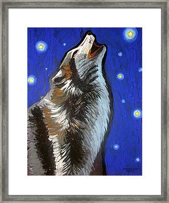 Wolf Howl Framed Print by Genevieve Esson