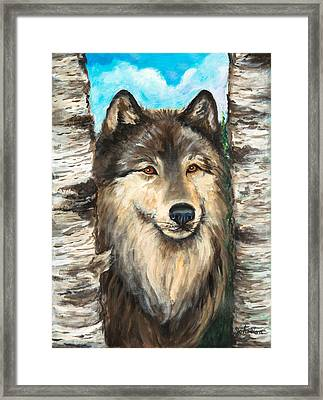 Wolf In The Aspens Originalpainting Forsale Framed Print by Bob and Nadine Johnston