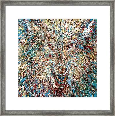 Wolf - Oil Portrait Framed Print by Fabrizio Cassetta