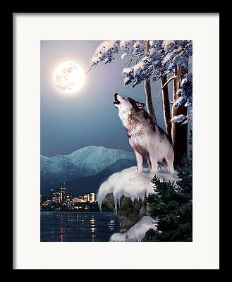 Nature Scene With Moon Framed Prints