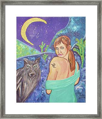 Wolf Queen's Vision Quest Framed Print by Ifeanyi C Oshun