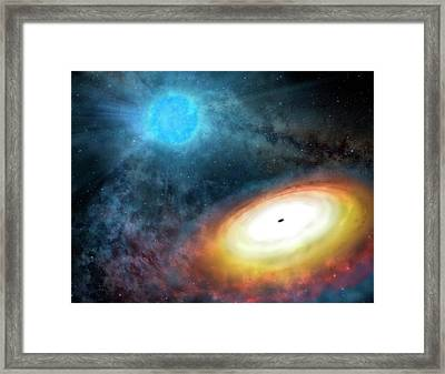 Wolf-rayet Star And Black Hole Framed Print by Gemini Observatory/aura, Artwork By Lynette Cook