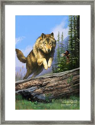 Framed Print featuring the painting Wolf Run Indian Hunter by Rob Corsetti