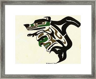 Wolf To Orca Framed Print by Micah McCarty Makah tribe