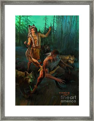 Framed Print featuring the painting Wolf Warriors Change by Rob Corsetti