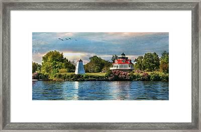 Wolfe Island Lighthouse Framed Print by Lori Deiter