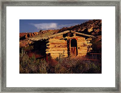 Wolfe Ranch Cabin, Arches National Framed Print by Michel Hersen