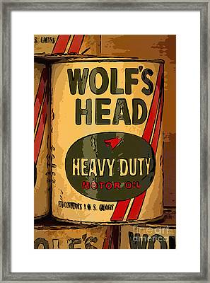 Wolf's Head Oil Can Framed Print