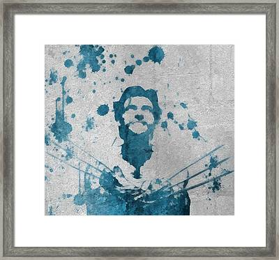Wolverine Paint Splatter On Concrete Framed Print by Dan Sproul