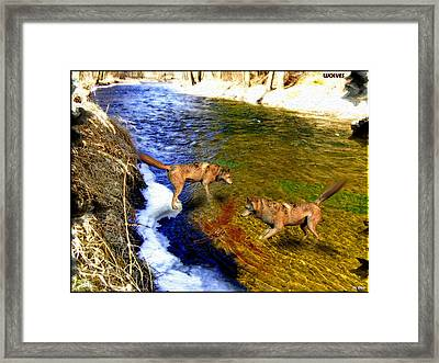 Framed Print featuring the digital art Wolves by Daniel Janda