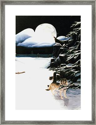 Wolves In The Snow Framed Print