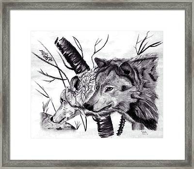 Framed Print featuring the drawing Wolves by Mayhem Mediums