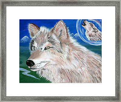 Framed Print featuring the painting Wolves by Phyllis Kaltenbach
