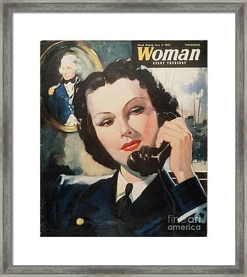 Woman 1940s Uk Navy Women At War  Ww2 Framed Print