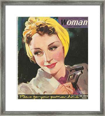 Woman 1940s Uk Women At War Mechanics Framed Print